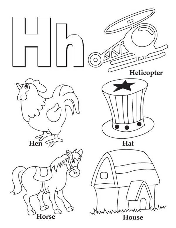 Letter H Words Coloring Page