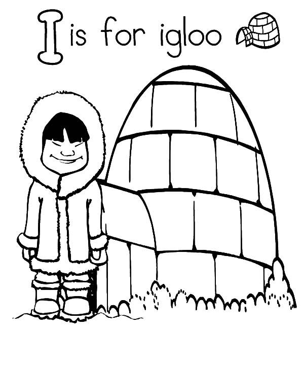 Letter I Is For Igloo Coloring Pages