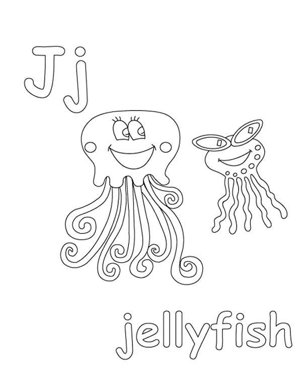 Letter J Coloring Page For Jellyfish
