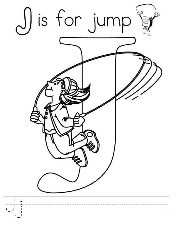 Letter J Is For Jump Worksheet Coloring Page