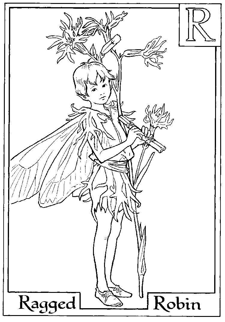 Letter R For Ragged Robin Flower Fairy Coloring Page