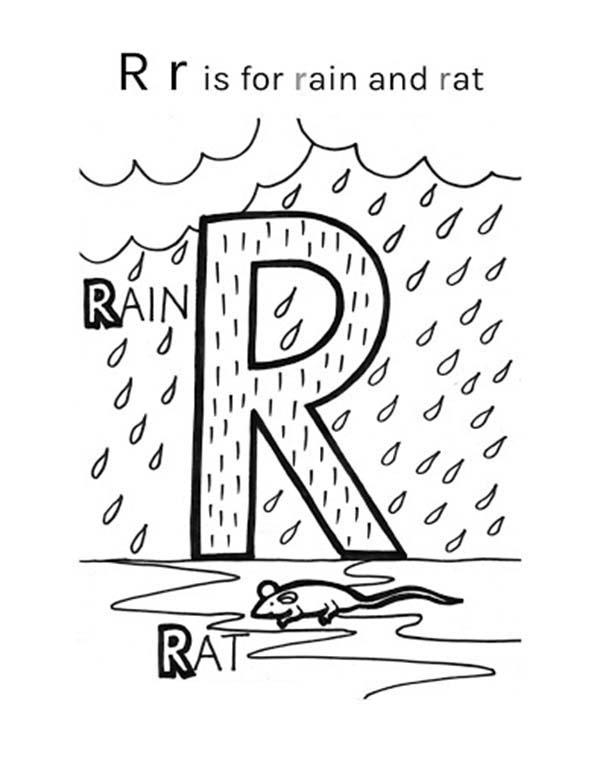 Letter R Is For Rain And Rat Coloring Page