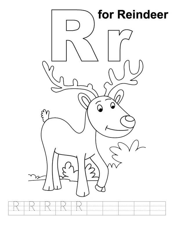 Letter R Is For Reindeer Coloring Page