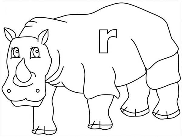 Letter R Is For Rhino Coloring Page