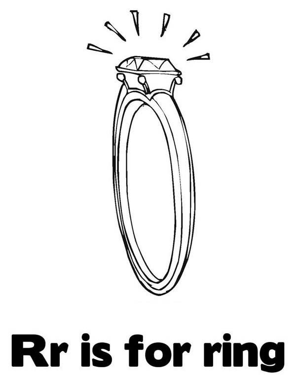 Letter R Is For Ring Coloring Page