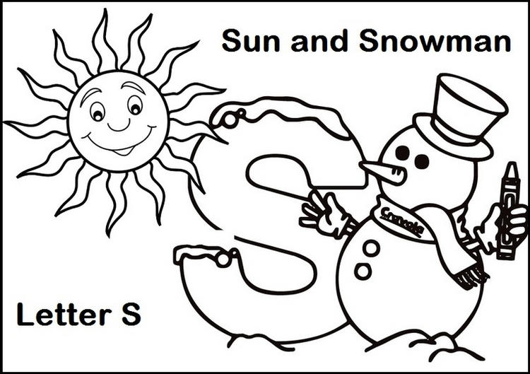 Letter S For Sun And Snowman Coloring Page