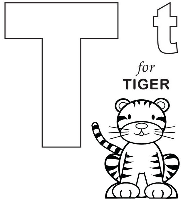 Letter T For Tiger Coloring Page