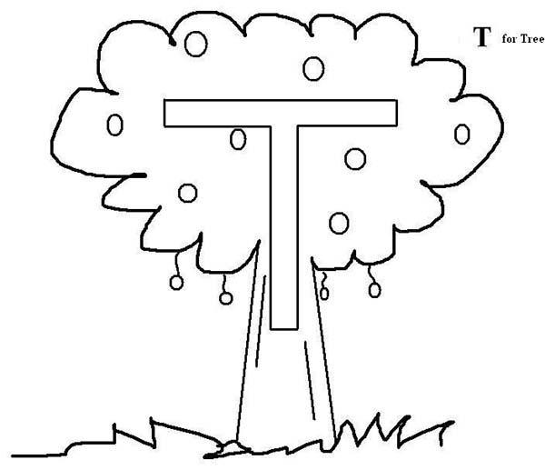 Letter T Fro Tree Coloring Page