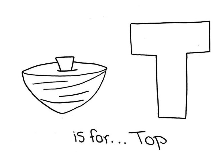 Letter T Is For Top Word Coloring Page