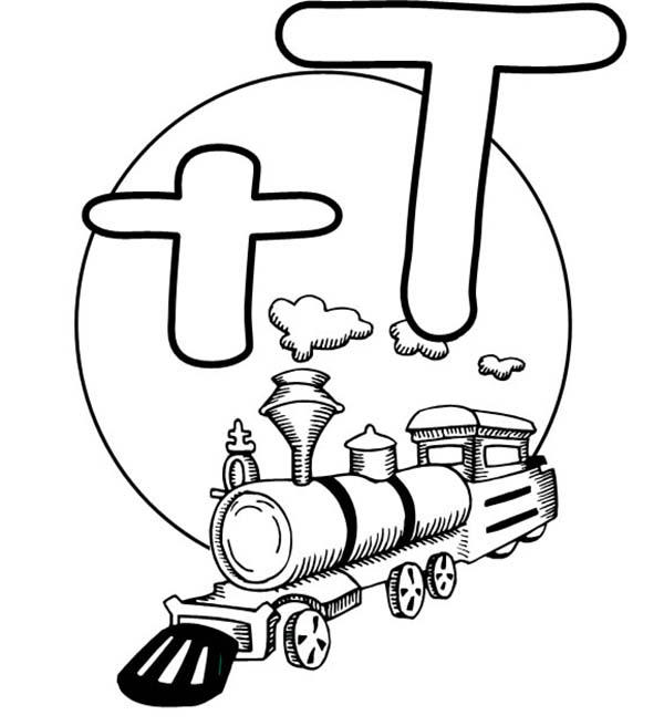 Letter T Is For Train Coloring Page For Preschool Kids