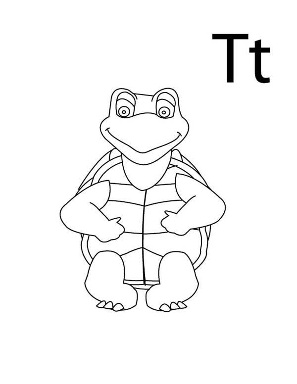 Letter T Is For Turtle Coloring Page For Kindergarden Kids