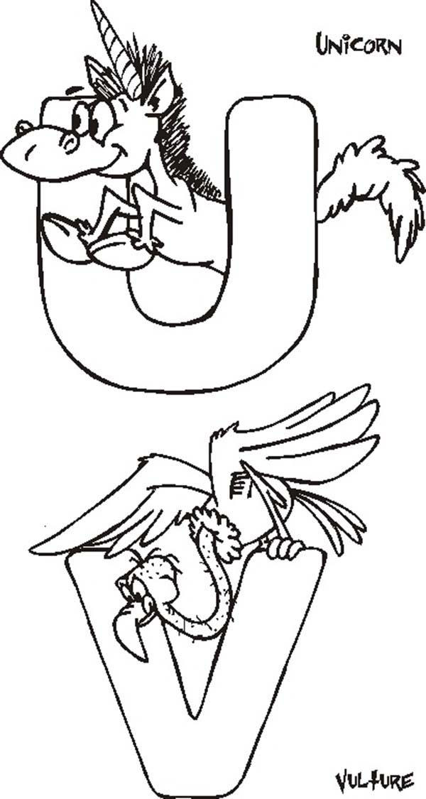 Letter U And Letter V Coloring Page