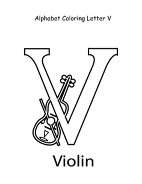 Letter V For Violin Coloring Page