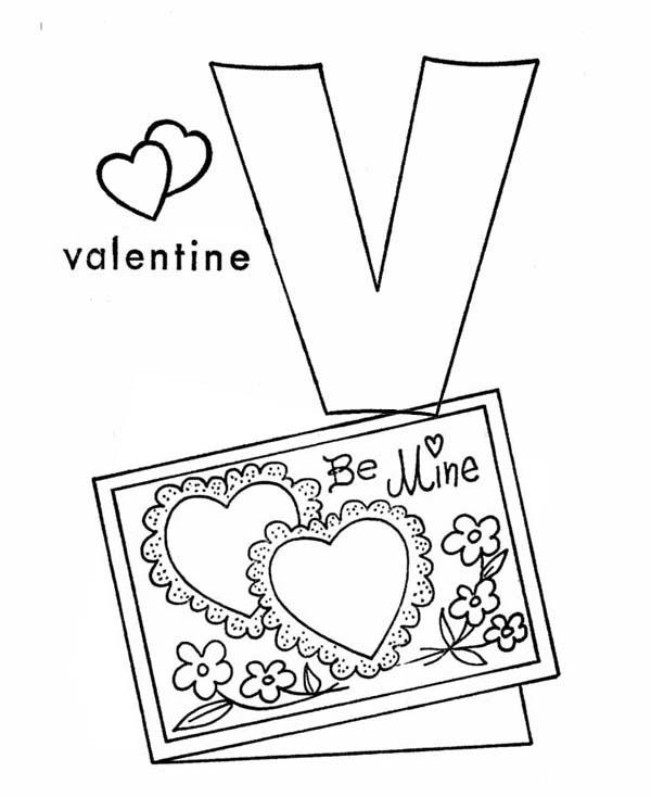Letter V Is For Valentine Coloring Page