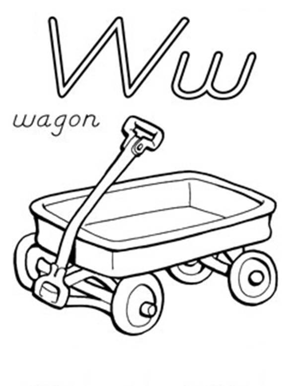 Letter W For Wagon Coloring Page