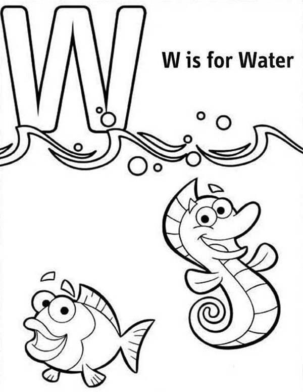 Letter W For Water Coloring Page