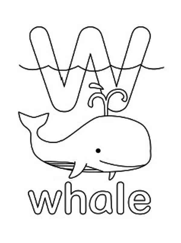 Letter W For Whale Coloring Page