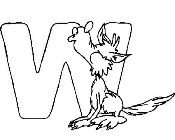 Letter W For Wolf Coloring Page