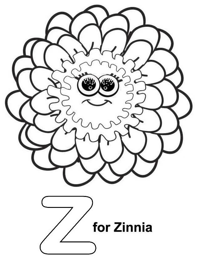 Letter Z For Zinnia Flower Coloring Page