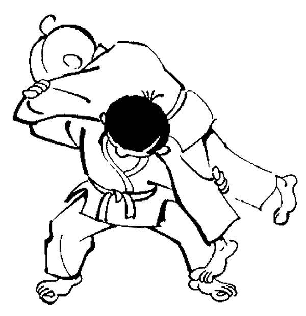 Lifting Opponent In Judo Coloring Pages
