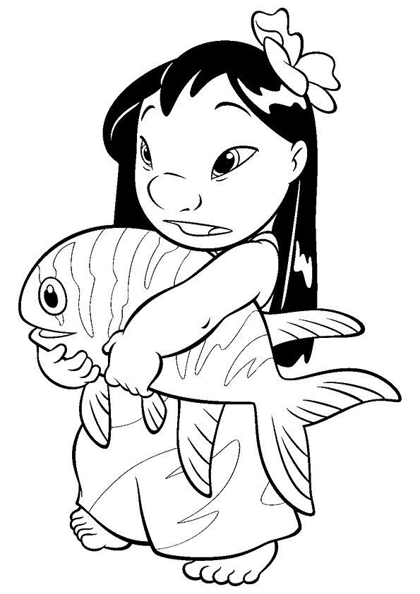 Lilo And Stitch Coloring Pages Lilo Catch A Fish