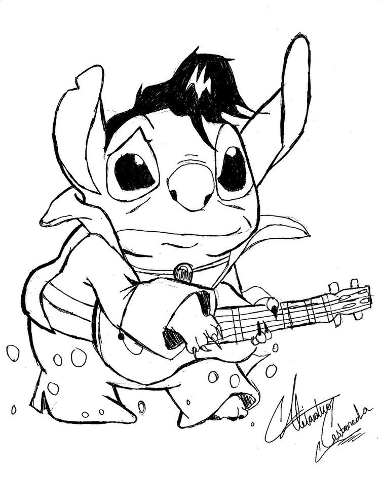 Lilo And Stitch Coloring Pages Playing Guitar