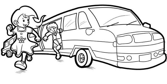 Limousine Car Cartoon Coloring Page For Kids