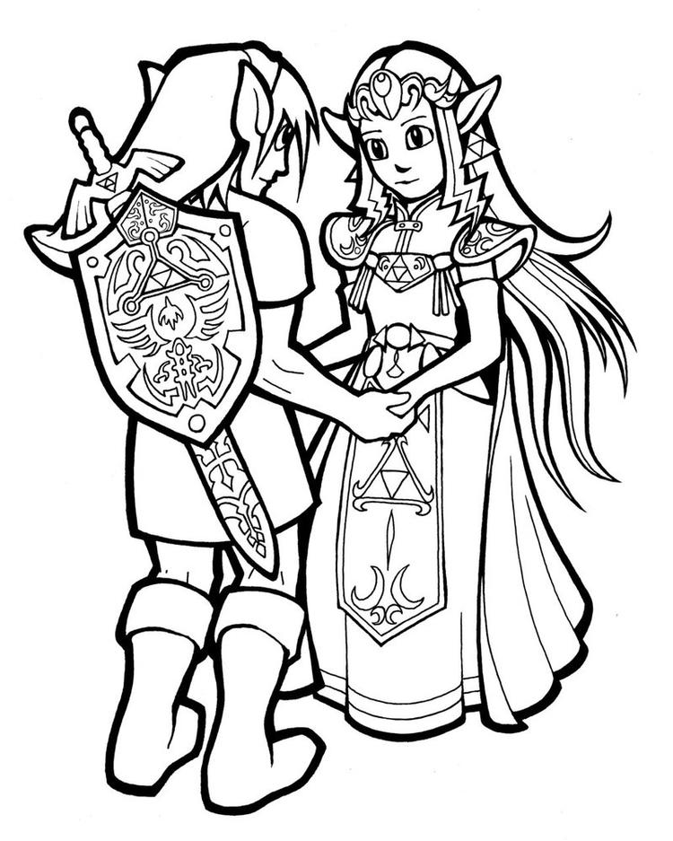 Link And Zelda Coloring Pages