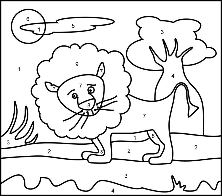 Lion Easy Color By Number Pages