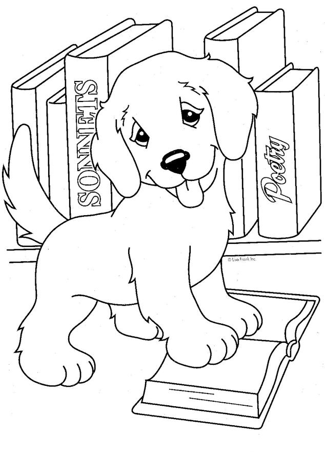 Lisa Frank Coloring Pages Cute Puppy And Books