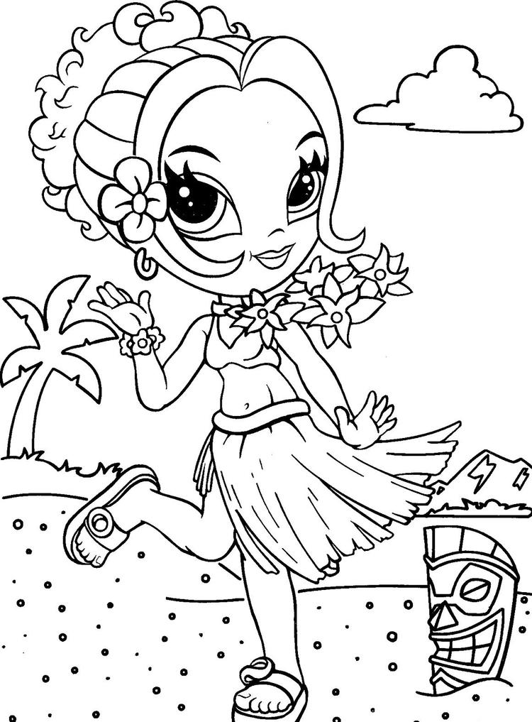 Lisa Frank Coloring Pages Girl At Hawaii Beach
