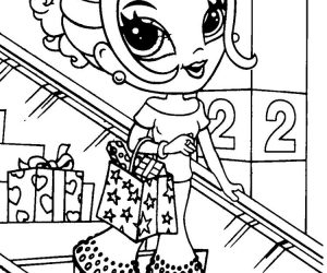 Lisa frank coloring pages girl shopping