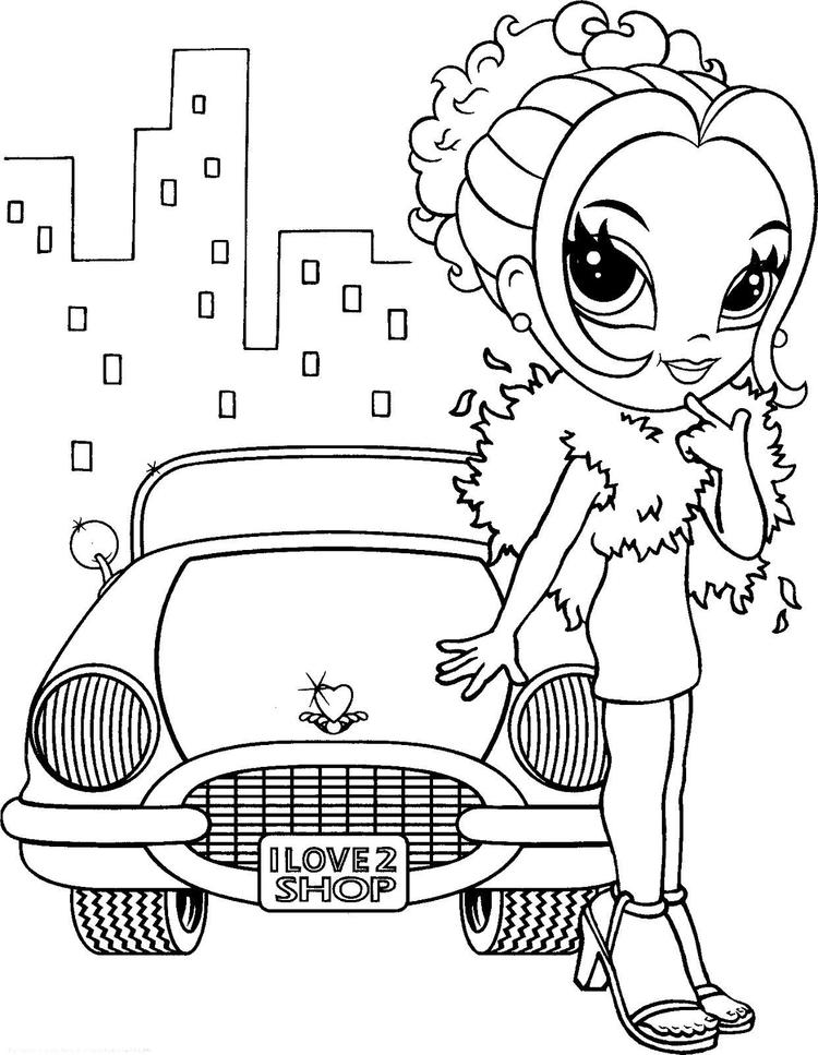 Lisa Frank Coloring Pages Girl With Car