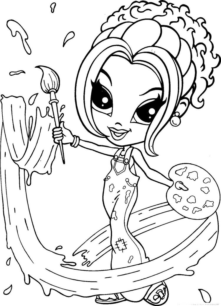 Lisa Frank Coloring Pages Painter Girl