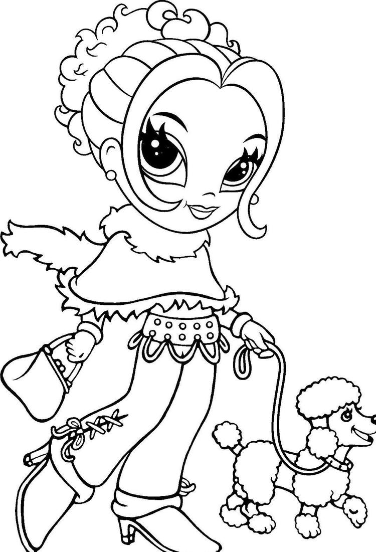 Lisa Frank Coloring Pages Walking With Dog