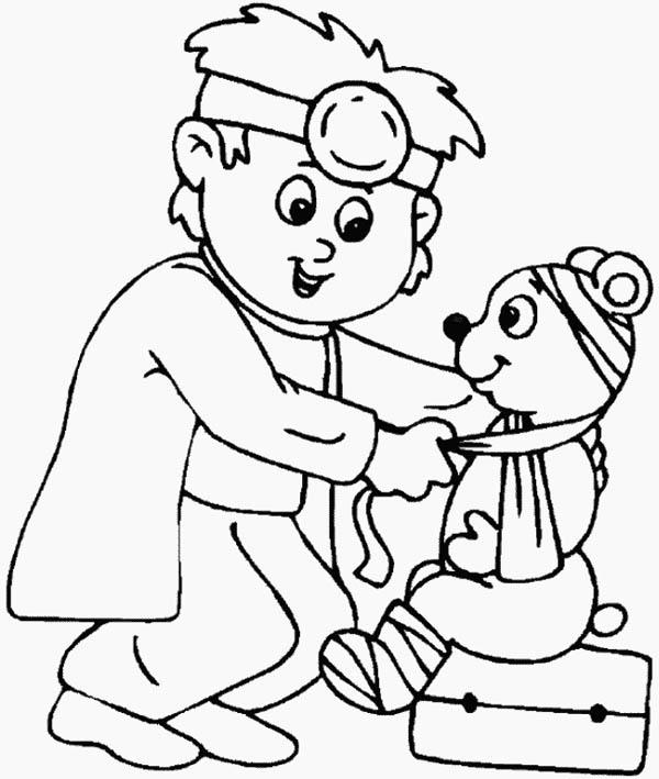 Little Animal Doctor At Hospital Coloring Pages