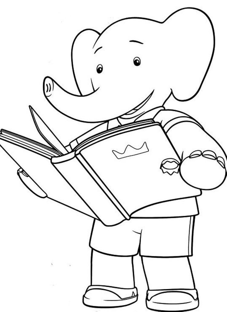 Little Babar Cartoon Coloring Pages For Kids