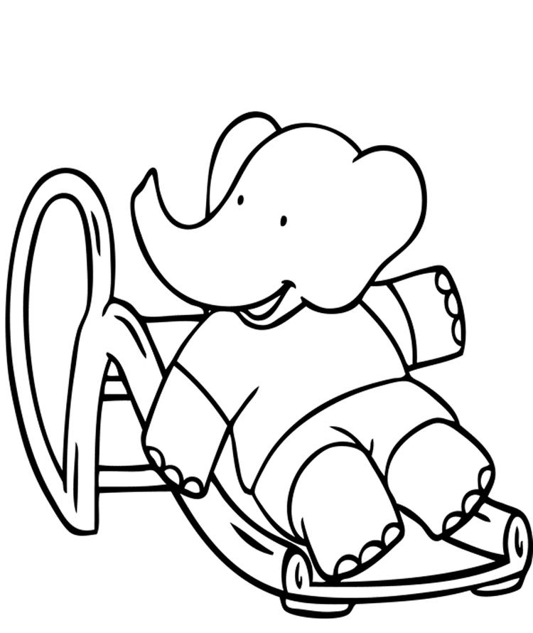 Little Babar Free Cartoon Coloring Pages