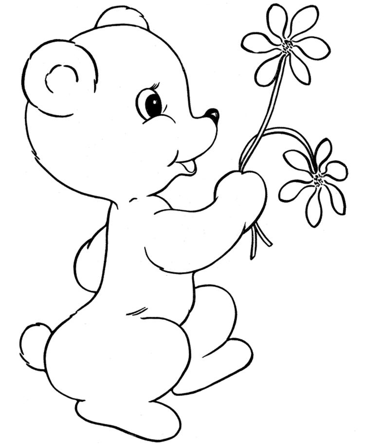 Little Bear With Flowers Valentines Coloring Pages
