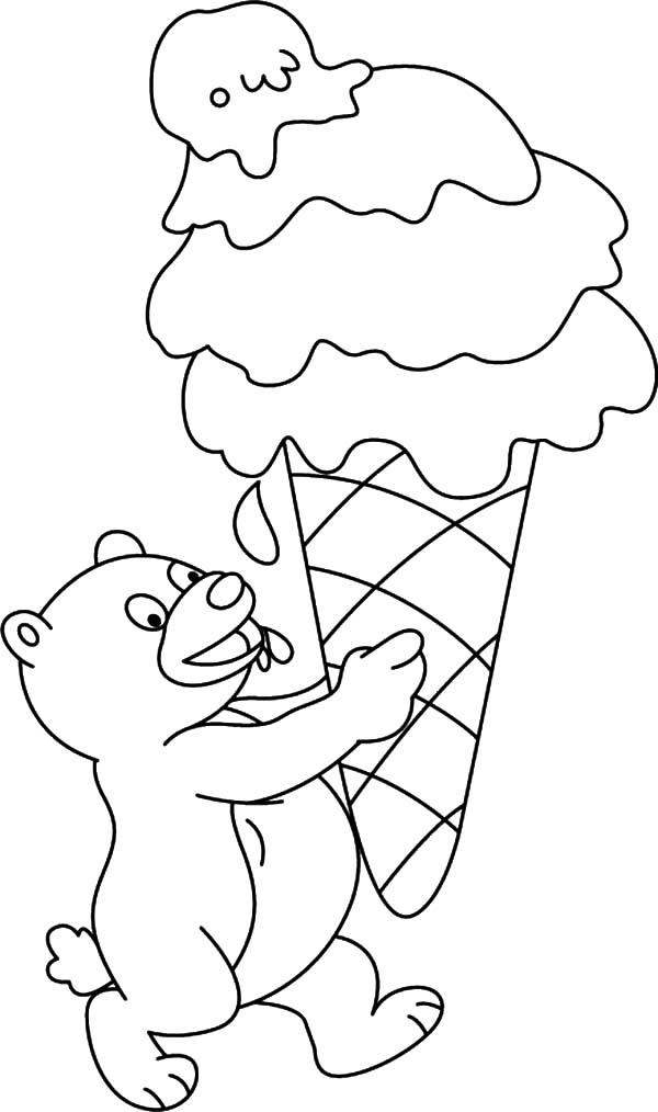 Little Bear With Huge Size Of Ice Cream Cone Coloring Pages
