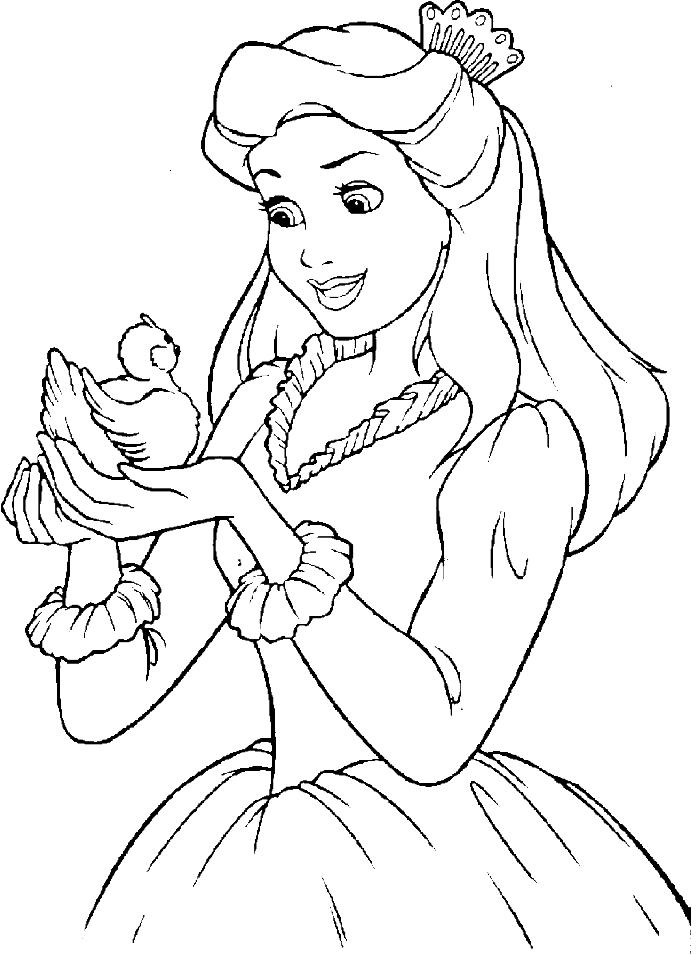 Little Bird All Disney Princess Coloring Pages