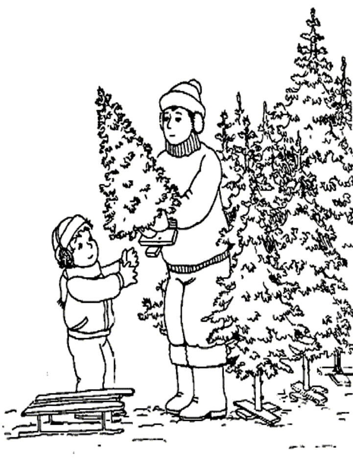Little Boy Buy Christmas Tree Christmas Coloring Page