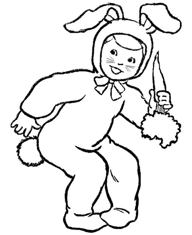 Little Boy On Easter Bunny Costume Coloring Page