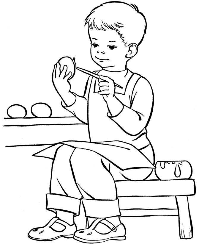 Little Boy Painting Easter Egg Coloring Pages