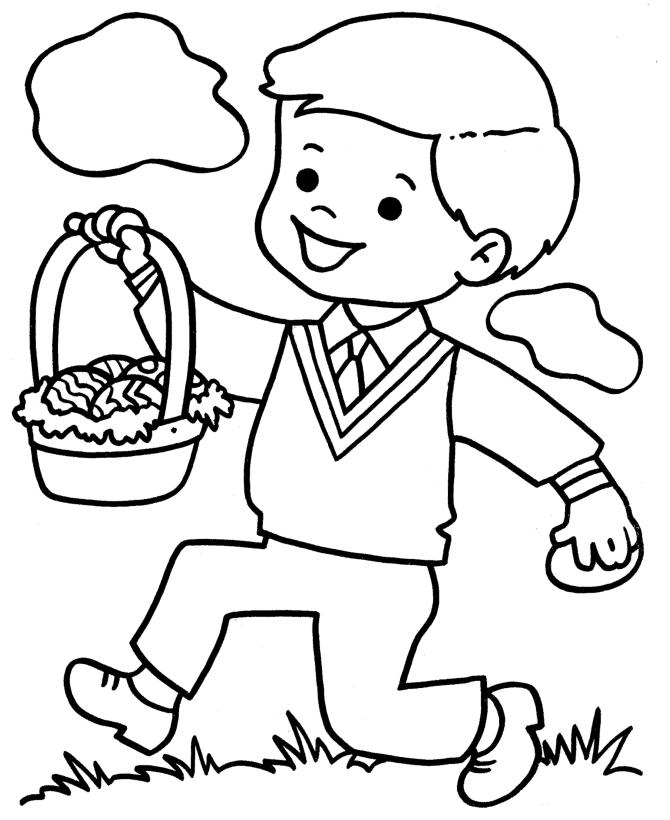 Little Boy With Easter Egg Coloring Page For Preschool