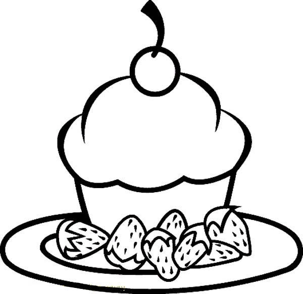 Little Cake And Strawberry Food Coloring Pages