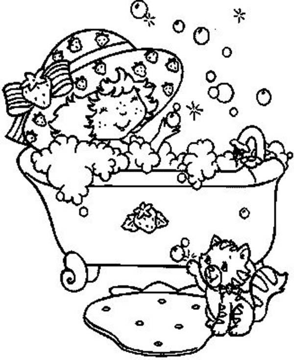 Little Cat And Little Girl Bath Time Coloring Pages