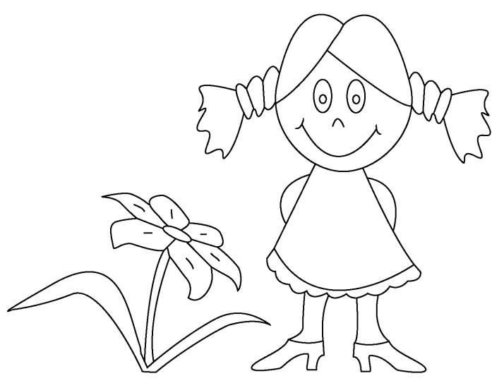 Little Girl And Flower Coloring Pages Easy