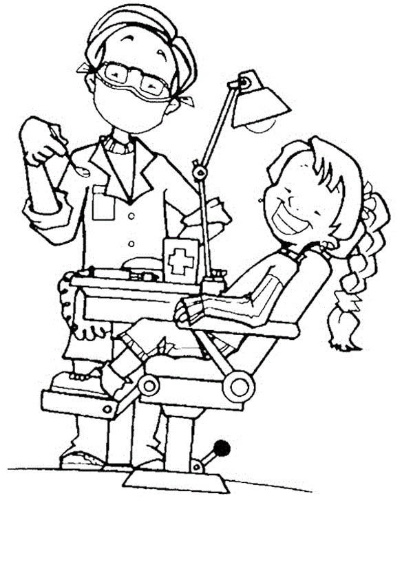 Little Girl And Her Dentist Coloring Pages