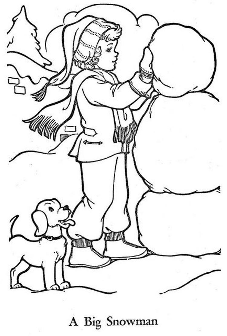 Little Girl Build A Snowman Coloring Pages